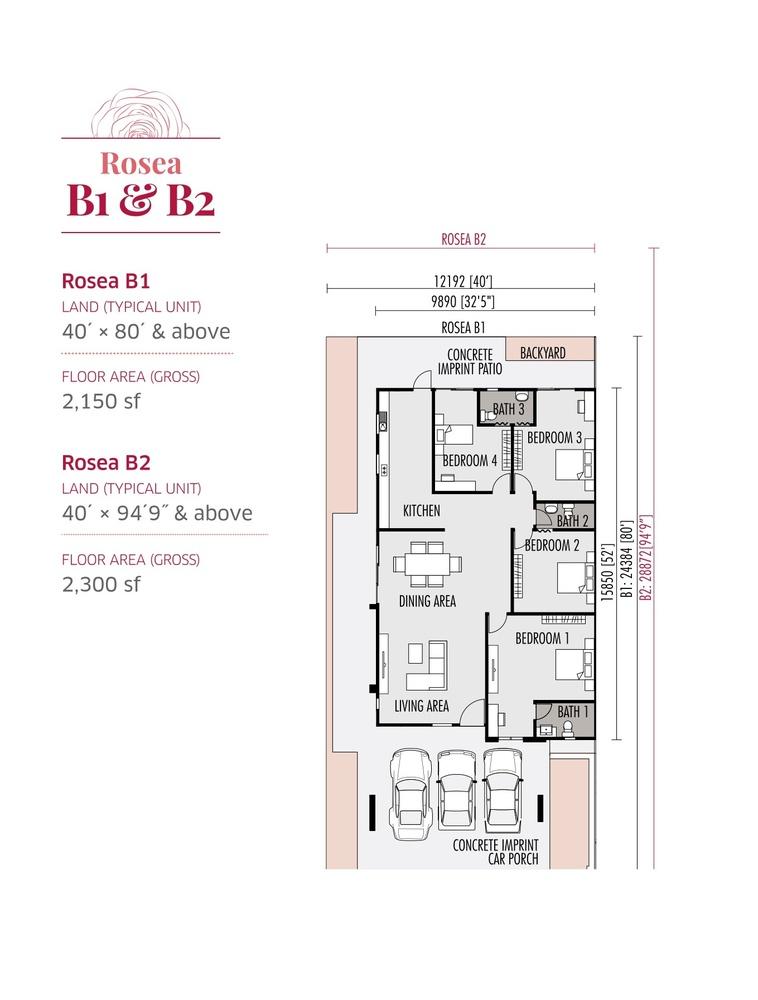 Roseville Rosea B1 & B2 Floor Plan