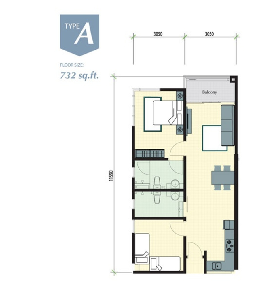 Meru Valley EcoVillage Aman Lofts - Type A Floor Plan