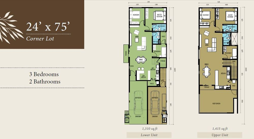 Bellevue @ Cybersouth Corner Lot (Lower & Upper Unit) Floor Plan