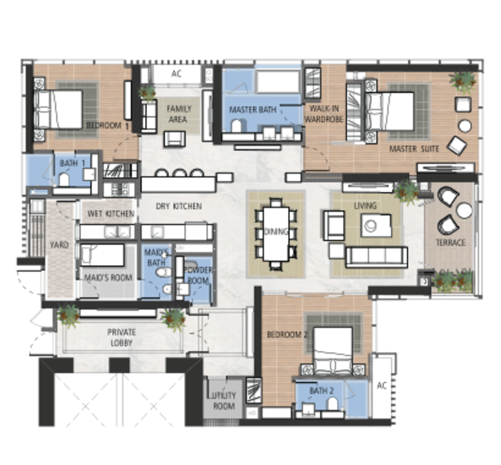 The Astaka @ 1 Bukit Senyum Type A1 Floor Plan