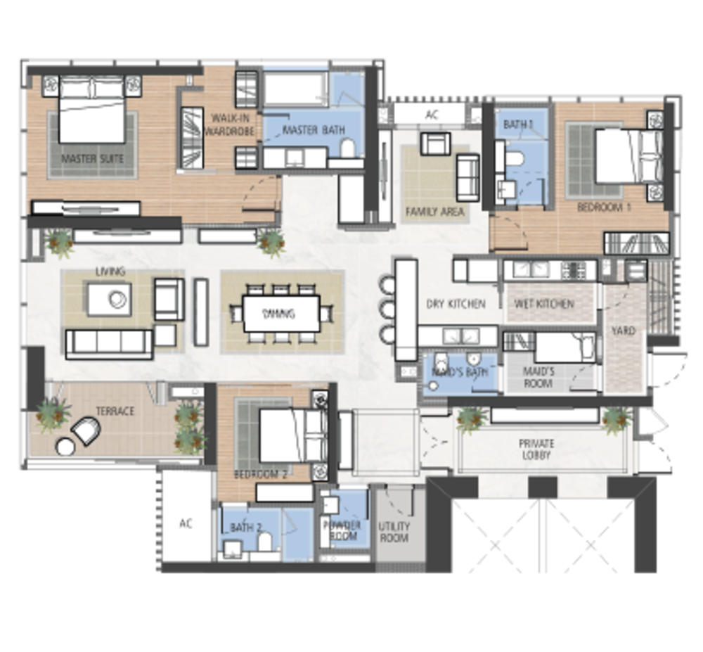 The Astaka @ 1 Bukit Senyum Type A2 Floor Plan