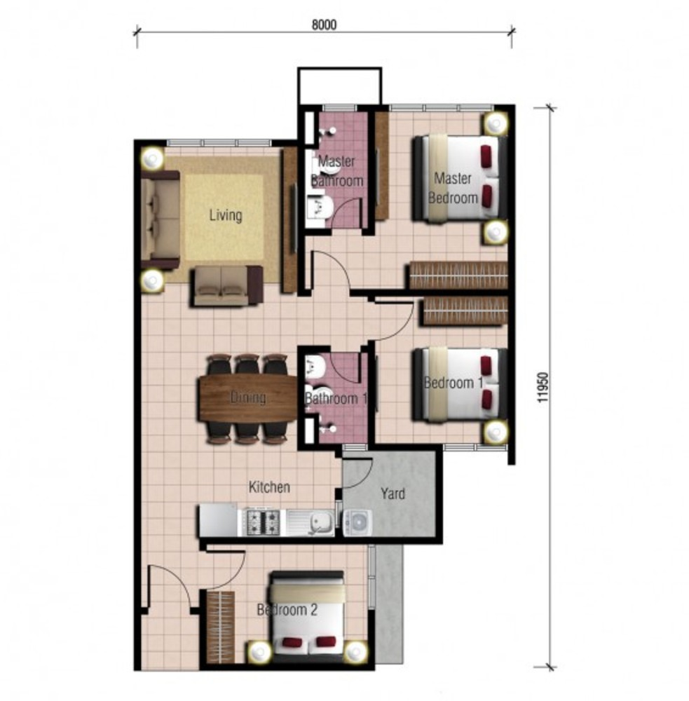 Platinum Splendor Residence Type A Floor Plan