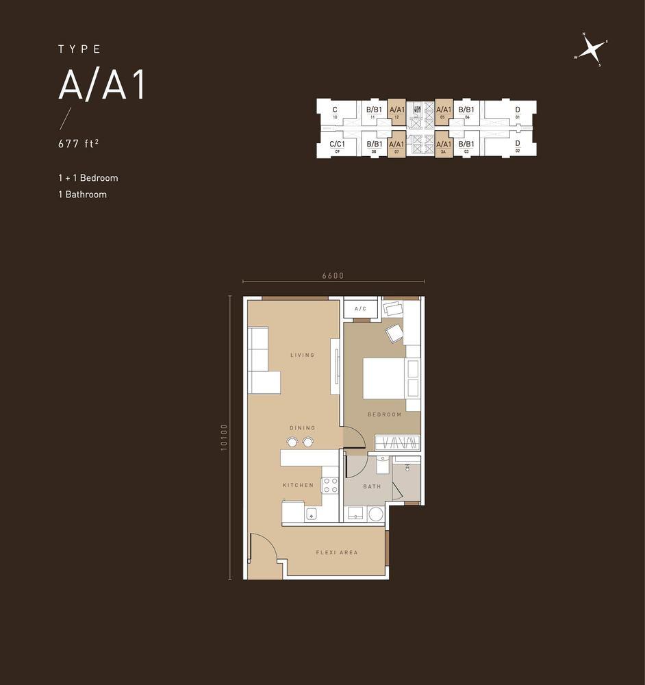 MET 1 Residences @ KL Metropolis Type A/A1 Floor Plan