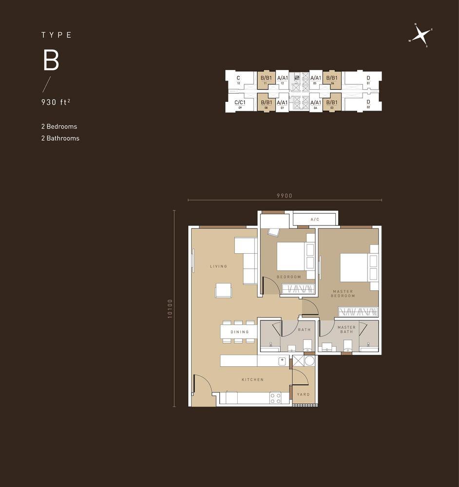 MET 1 Residences @ KL Metropolis Type B Floor Plan