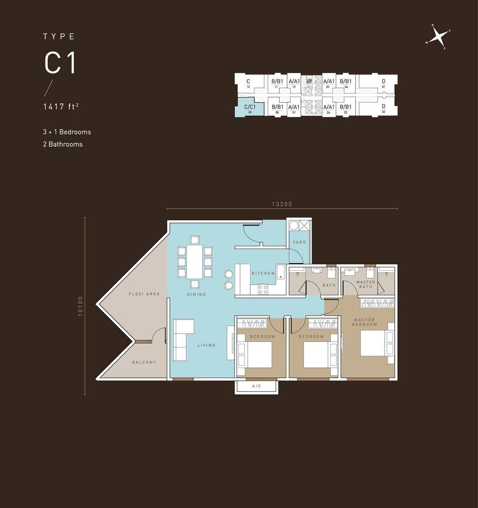 MET 1 Residences @ KL Metropolis Type C1 Floor Plan