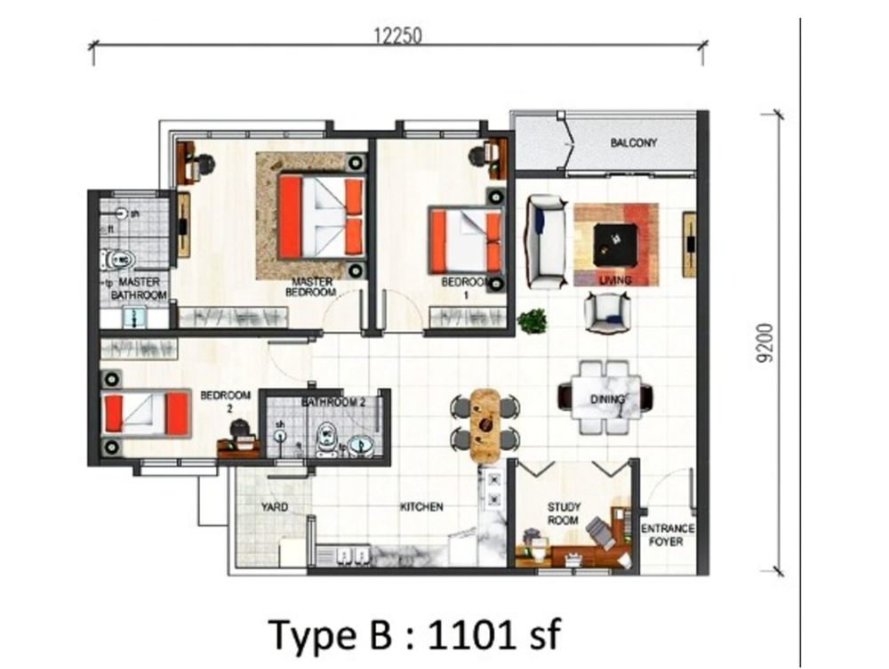 Paraiso @ The Earth Bukit Jalil Type B Floor Plan