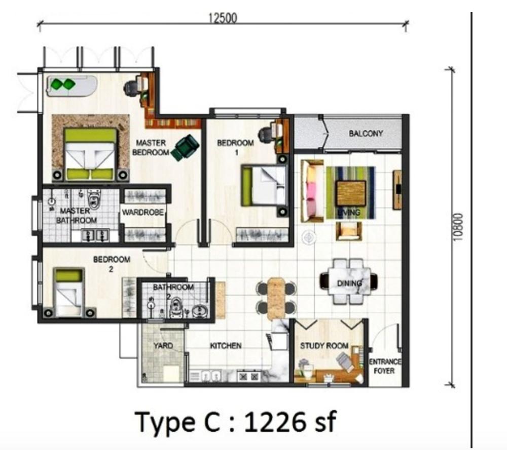 Paraiso @ The Earth Bukit Jalil Type C Floor Plan