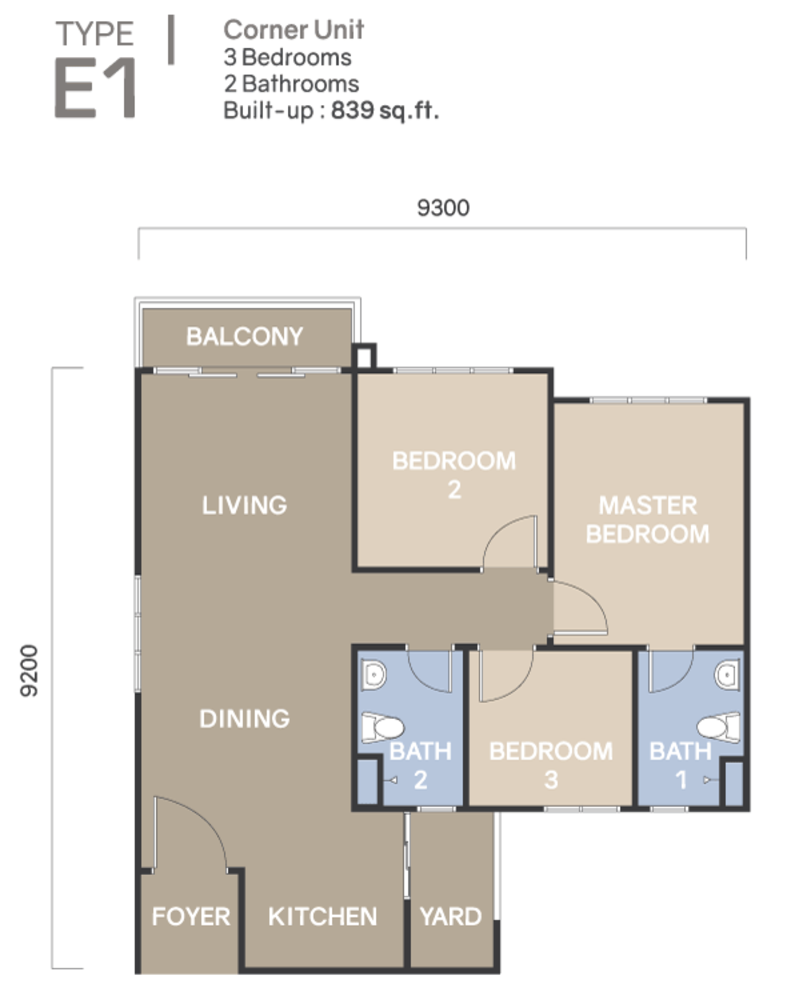 Koi Suites Type E1 Floor Plan