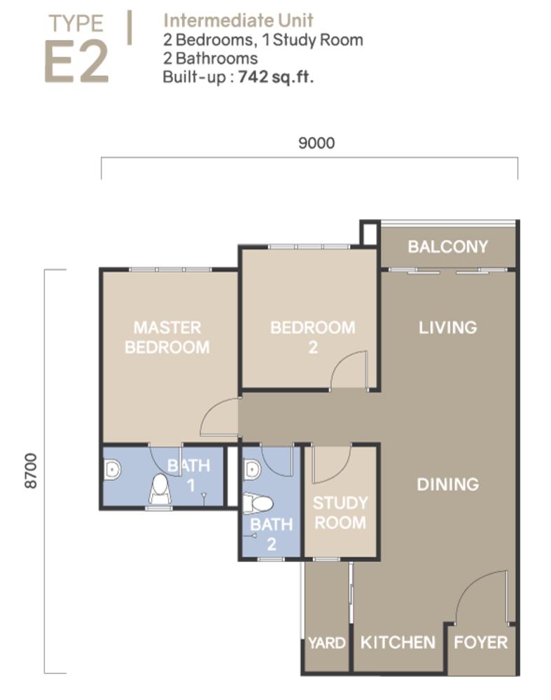 Koi Suites Type E2 Floor Plan