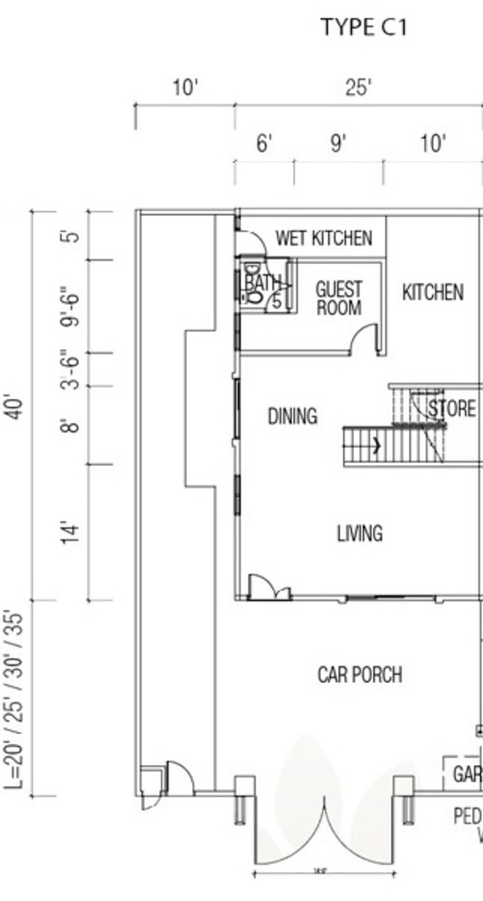 Ridgewood @ Taman Bercham Permai Three Storey Cluster Semi-D Type C1 (Ground Floor) Floor Plan