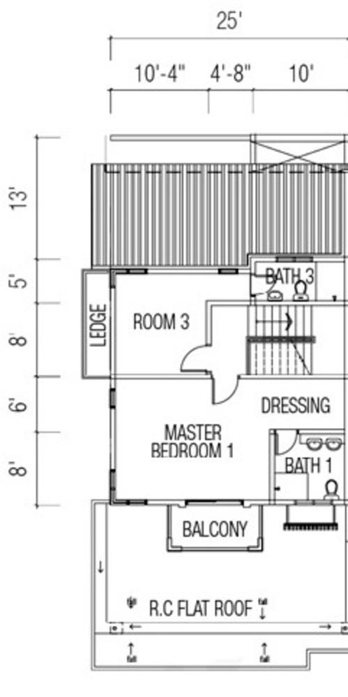 Ridgewood @ Taman Bercham Permai Three Storey Cluster Semi-D Type C1 (Second Floor) Floor Plan