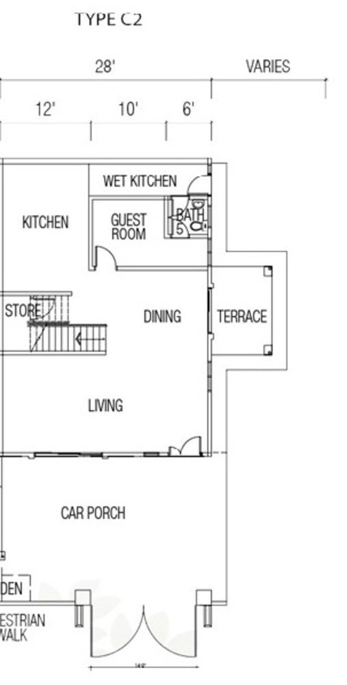 Ridgewood @ Taman Bercham Permai Three Storey Cluster Semi-D Type C2 (Ground Floor) Floor Plan