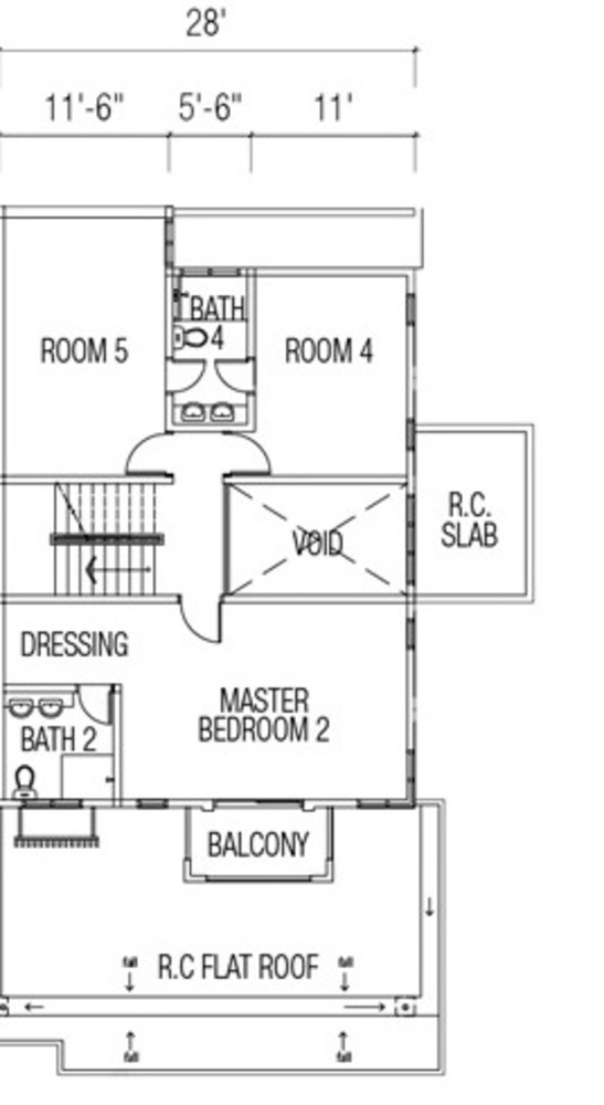 Ridgewood @ Taman Bercham Permai three Storey Cluster Semi-D Type C2 (First Floor) Floor Plan