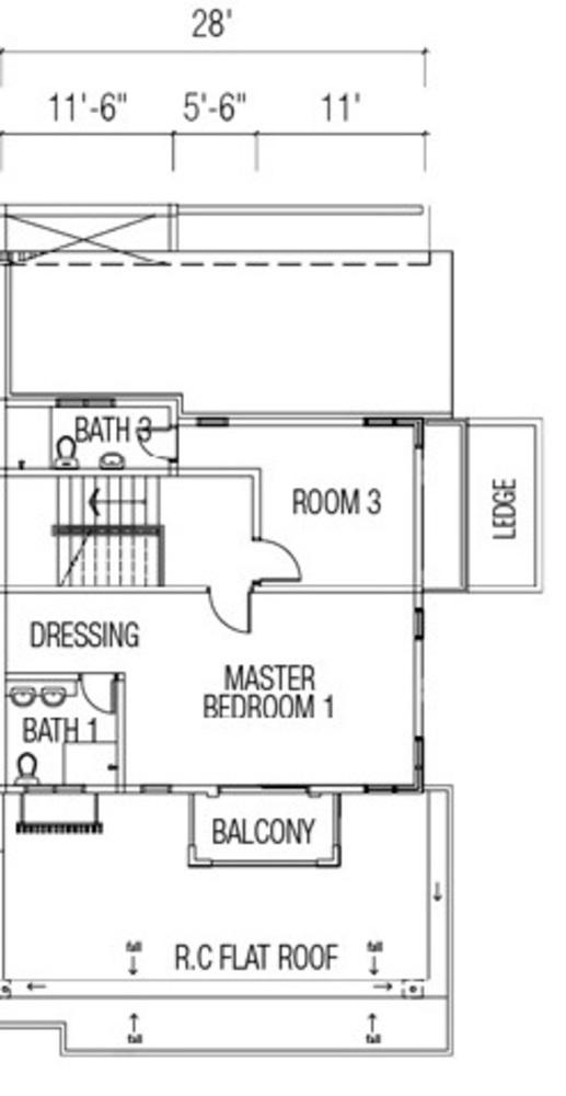 Ridgewood @ Taman Bercham Permai Three Storey Cluster Semi-D Type C2 (Second Floor) Floor Plan
