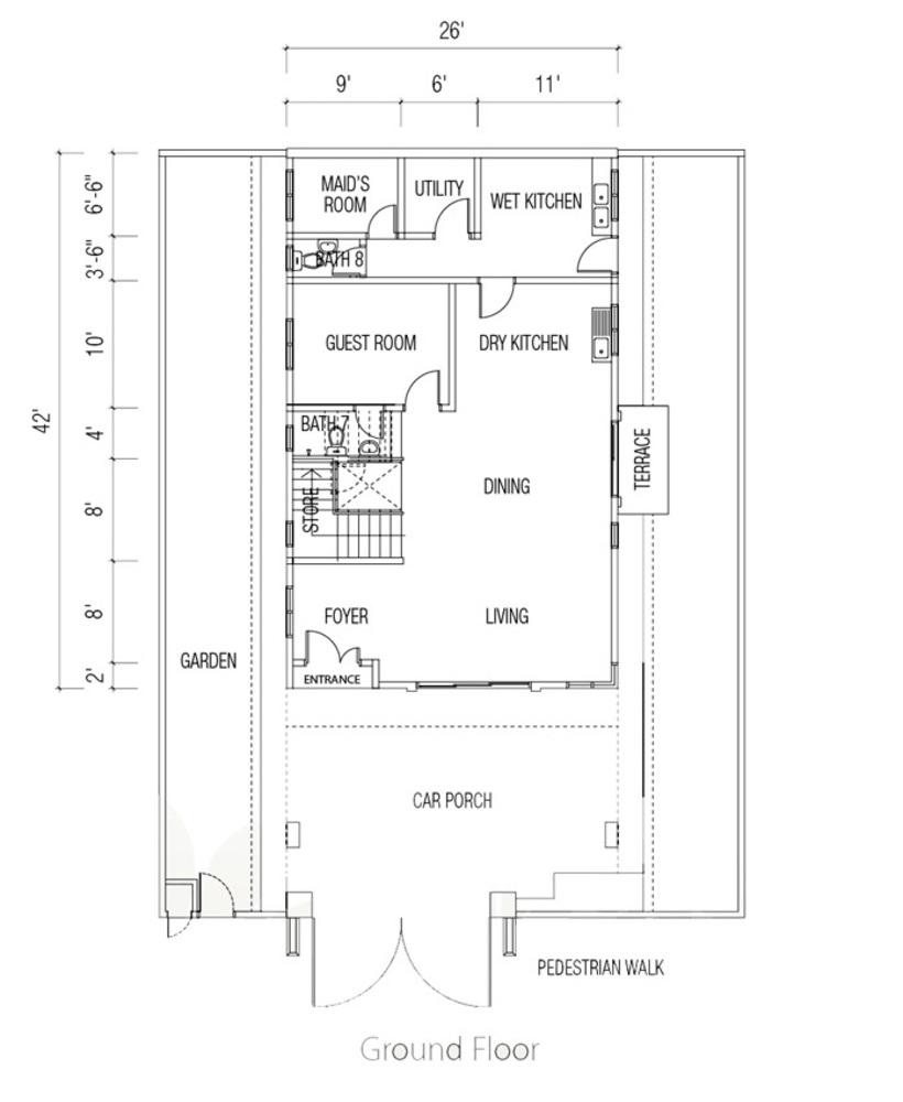 Ridgewood @ Taman Bercham Permai Three Storey Link Bungalow (Ground Floor) Floor Plan