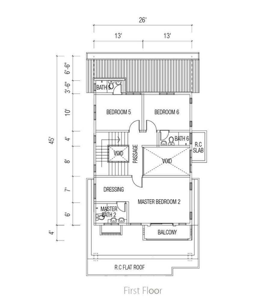 Ridgewood @ Taman Bercham Permai Three Storey Link Bungalow (First Floor) Floor Plan