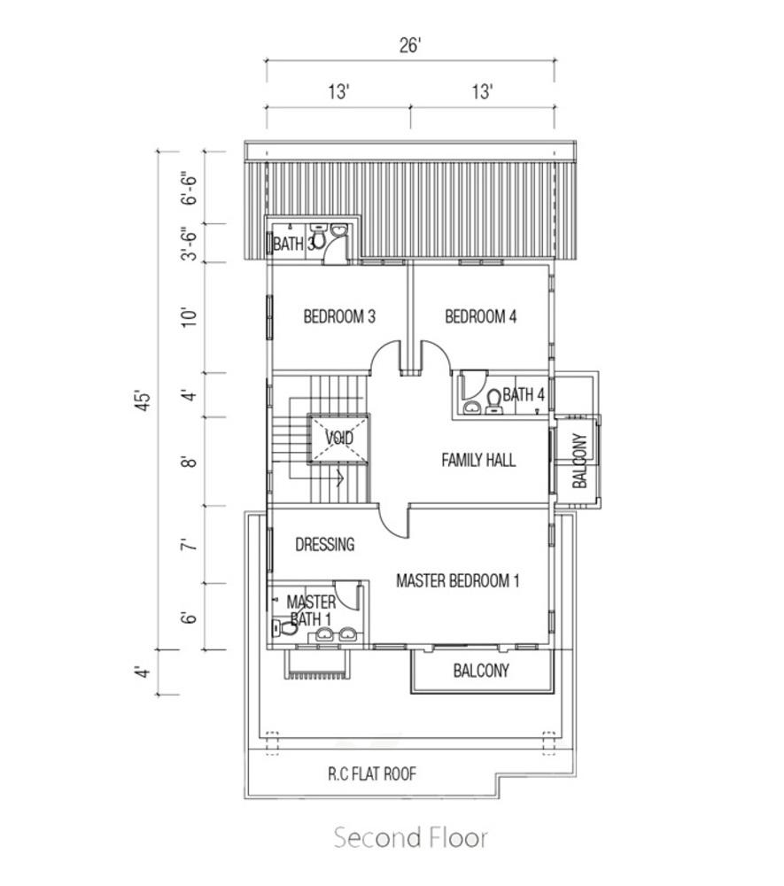Ridgewood @ Taman Bercham Permai Three Storey Link Bungalow (Second Floor) Floor Plan