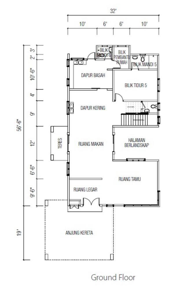 Ridgewood @ Taman Bercham Permai Three Storey Bungalow A (Ground Floor) Floor Plan