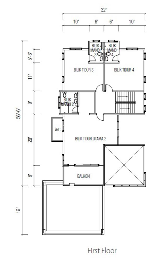 Ridgewood @ Taman Bercham Permai Three Storey Bungalow A (First Floor) Floor Plan