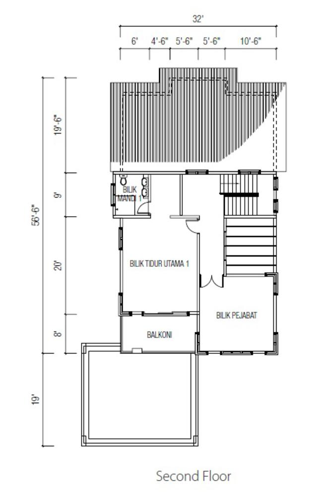 Ridgewood @ Taman Bercham Permai Three Storey Bungalow A (Second Floor) Floor Plan