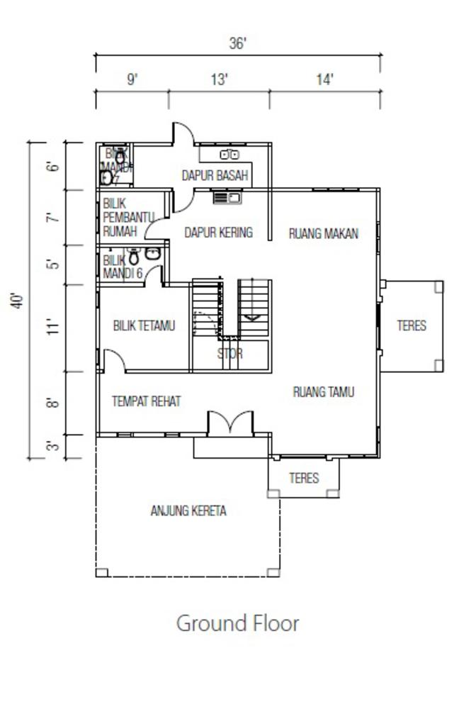 Ridgewood @ Taman Bercham Permai Three Storey Bungalow B (Ground Floor) Floor Plan