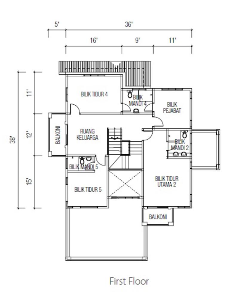 Ridgewood @ Taman Bercham Permai Three Storey Bungalow B (First Floor) Floor Plan