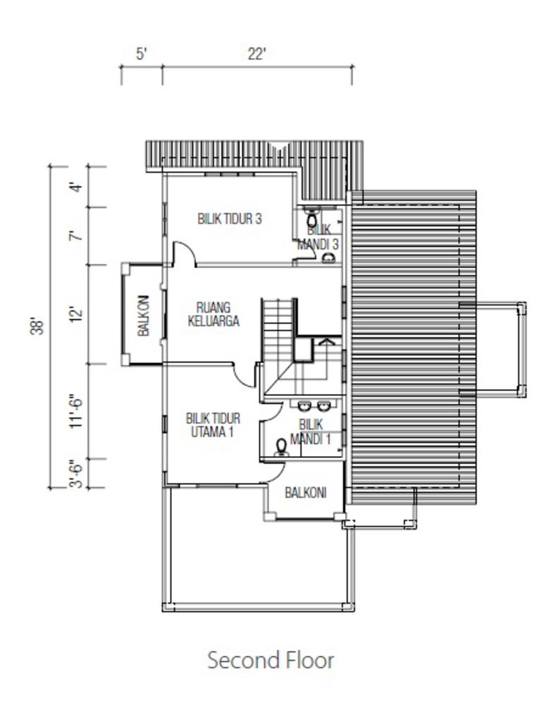 Ridgewood @ Taman Bercham Permai Three Storey Bungalow B (Second Floor) Floor Plan