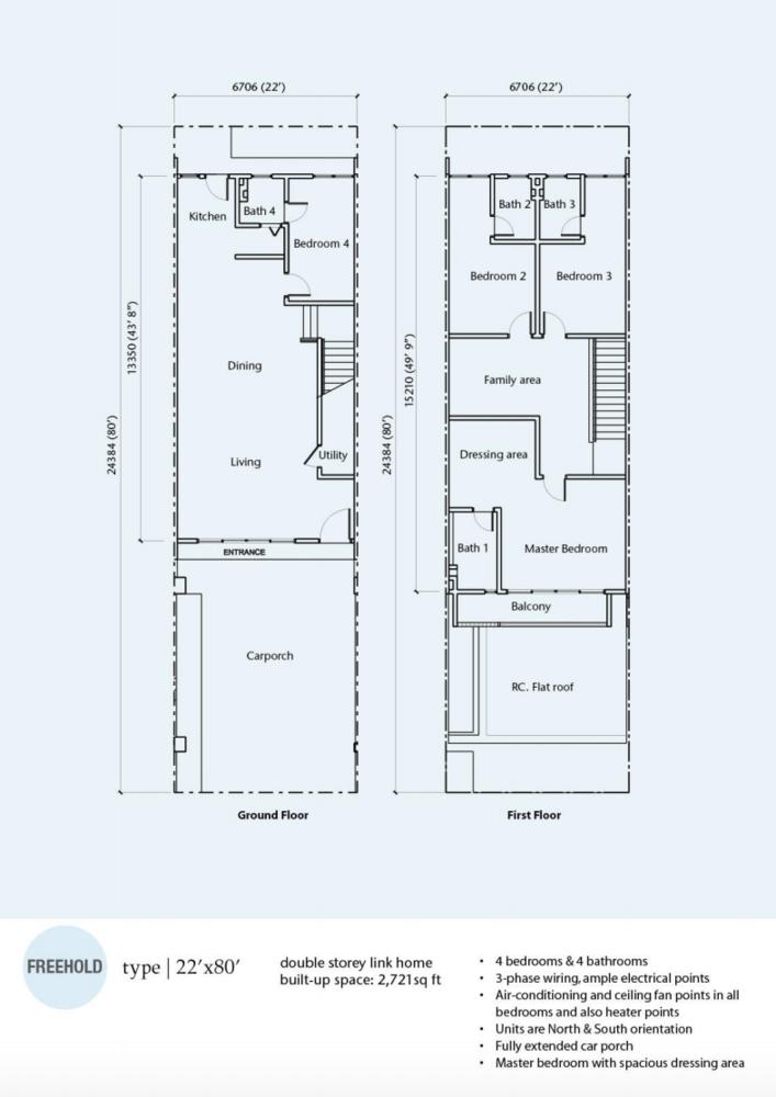 Rimbun Vista Type A (22' x 80') Floor Plan