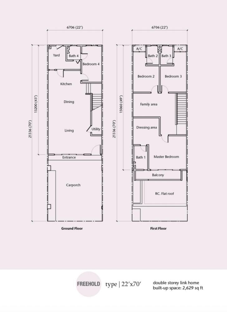 Rimbun Vista Type B (22' x 70') Floor Plan