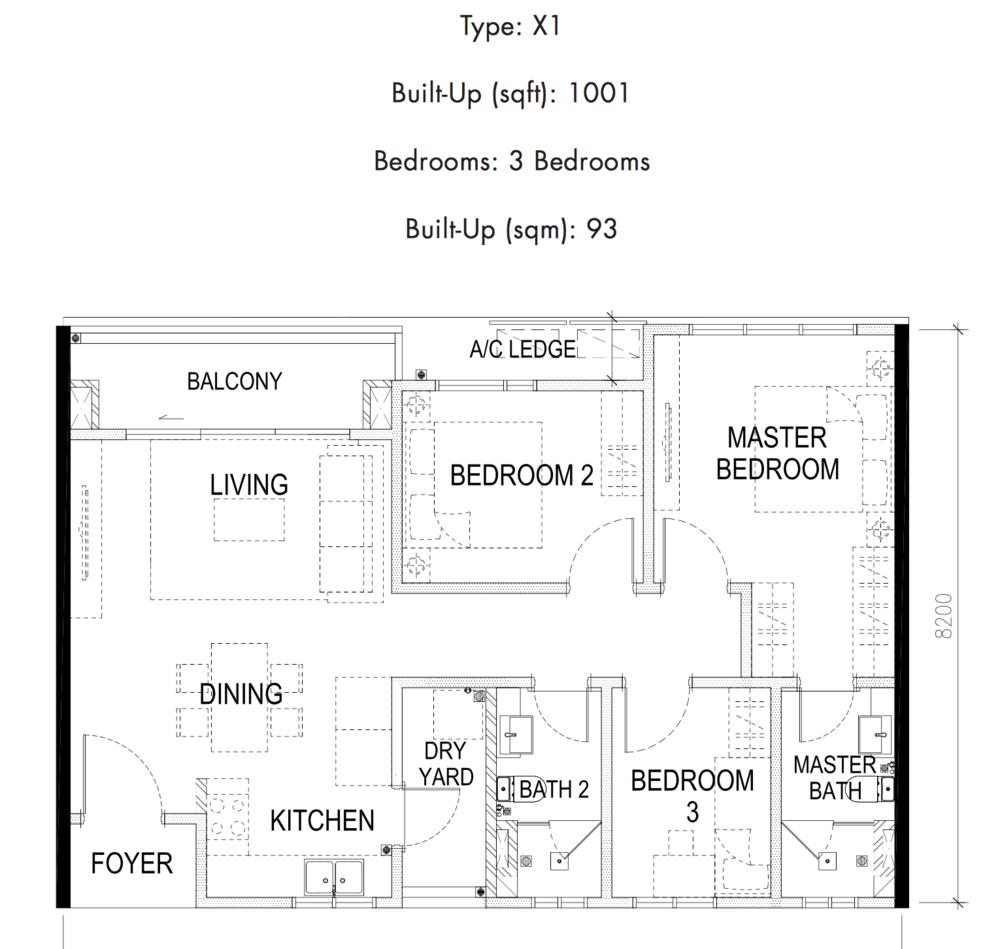 Tria Residences @ 9 Seputeh Pelto Type X1 Floor Plan