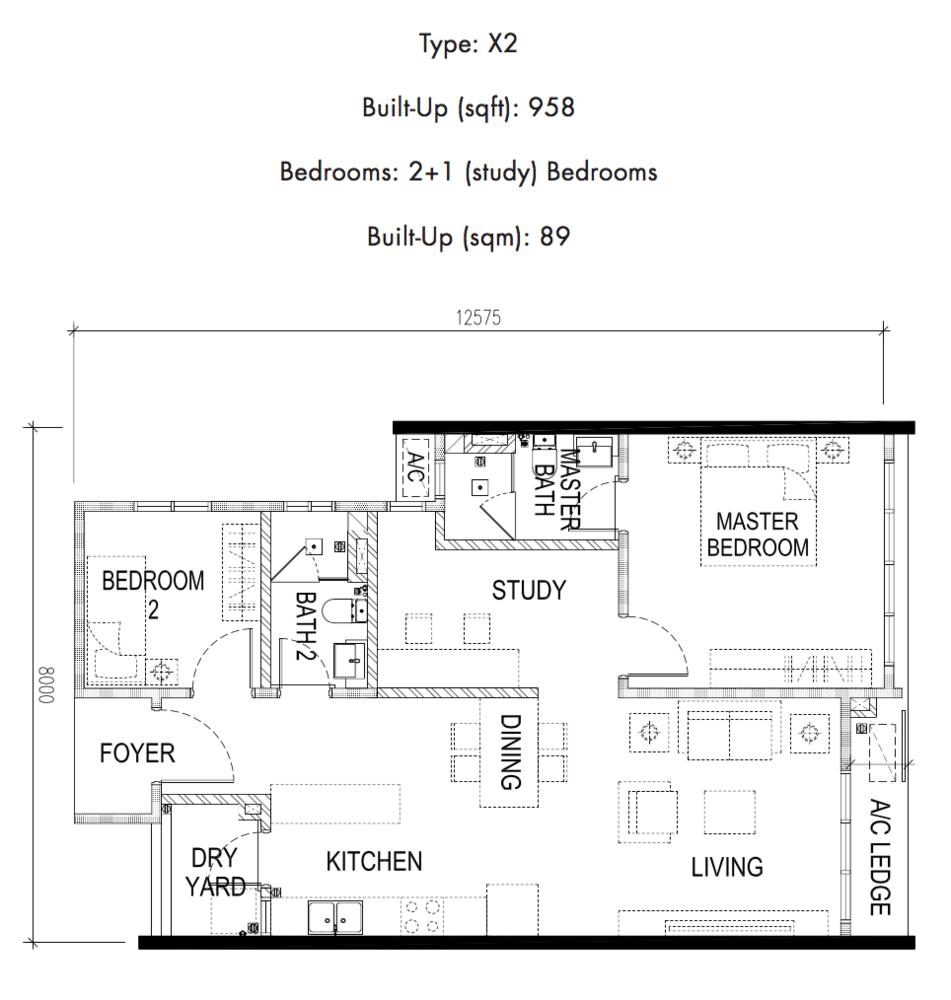 Tria Residences @ 9 Seputeh Pelto Type X2 Floor Plan