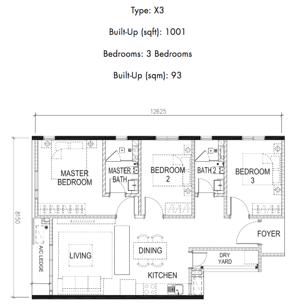 Tria Residences @ 9 Seputeh Pelto Type X3 Floor Plan
