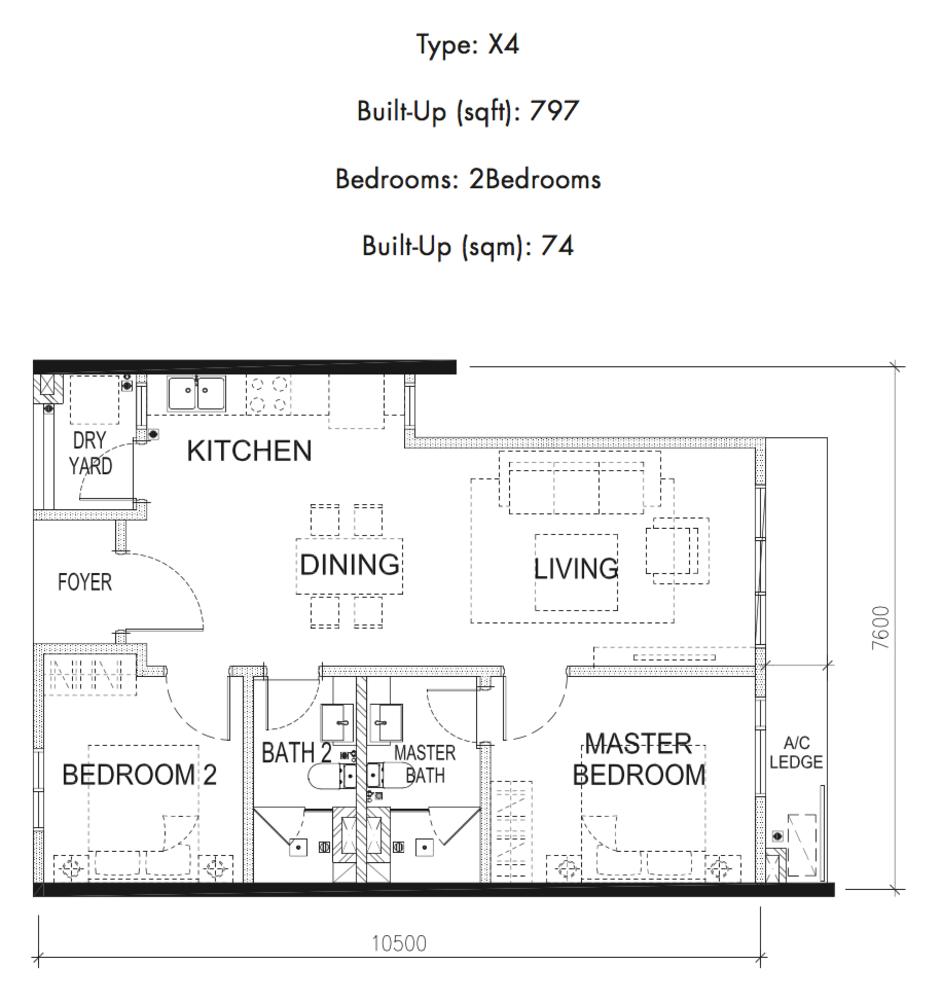 Tria Residences @ 9 Seputeh Pelto Type X4 Floor Plan