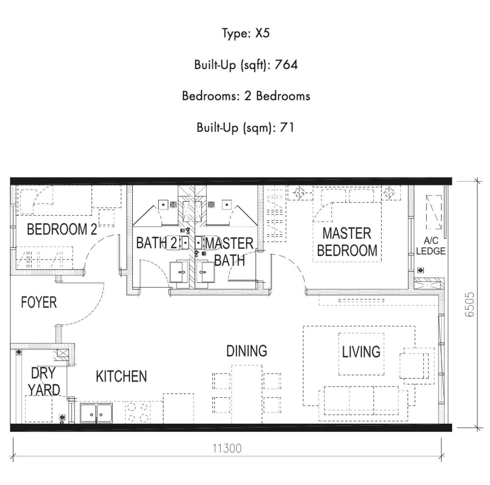 Tria Residences @ 9 Seputeh Pelto Type X5 Floor Plan