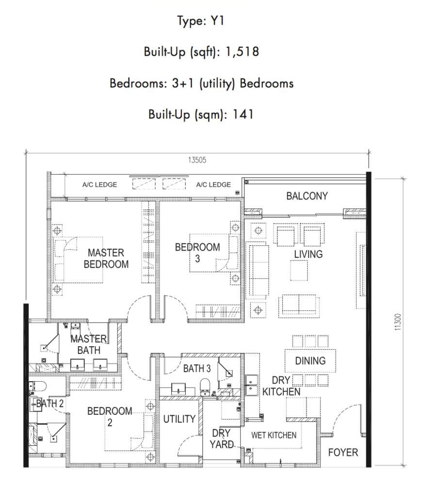 Tria Residences @ 9 Seputeh Ebon Type Y1 Floor Plan