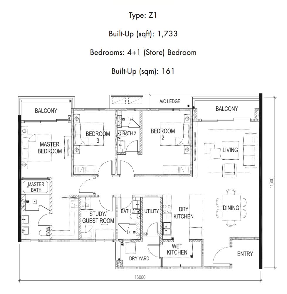 Tria Residences @ 9 Seputeh Ebon Type Z1 Floor Plan
