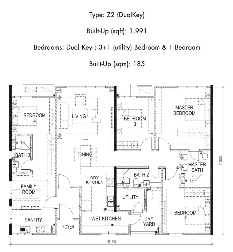 Tria Residences @ 9 Seputeh Ebon Type Z2 Floor Plan