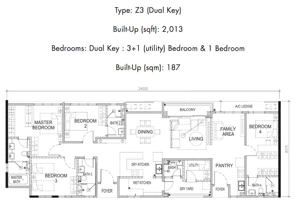 Tria Residences @ 9 Seputeh Ebon Type Z3 Floor Plan