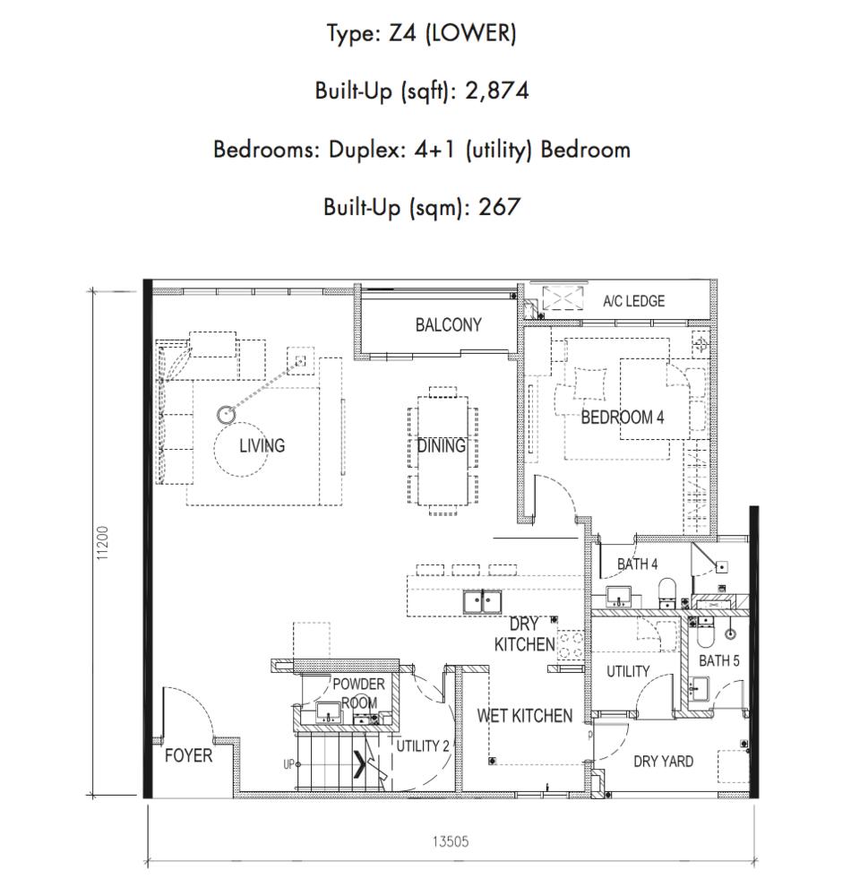 Tria Residences @ 9 Seputeh Ebon Type Z4 Lower Floor Floor Plan