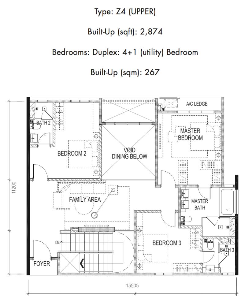 Tria Residences @ 9 Seputeh Ebon Type Z4 Upper Floor Floor Plan