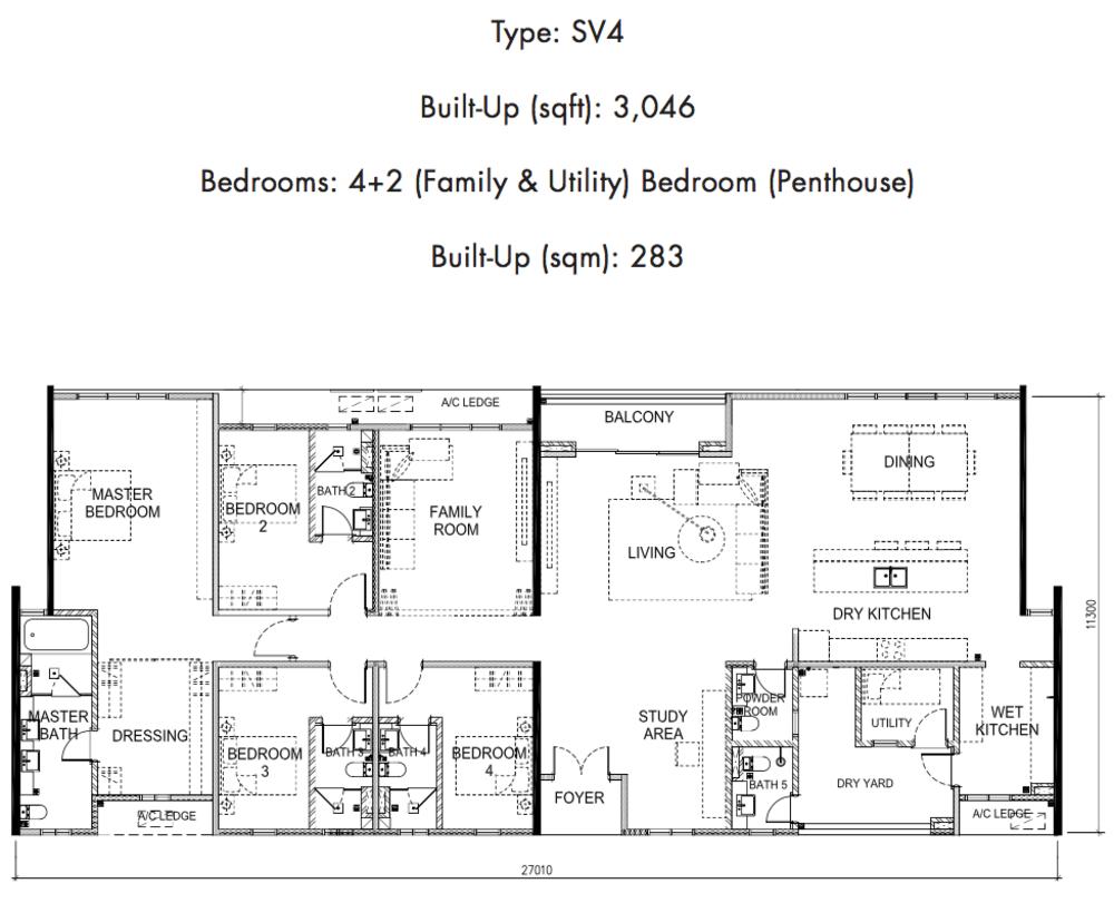 Tria Residences @ 9 Seputeh Ebon Type SV4 Floor Plan