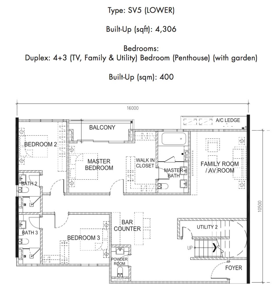 Tria Residences @ 9 Seputeh Ebon Type SV5 Lower Floor Floor Plan