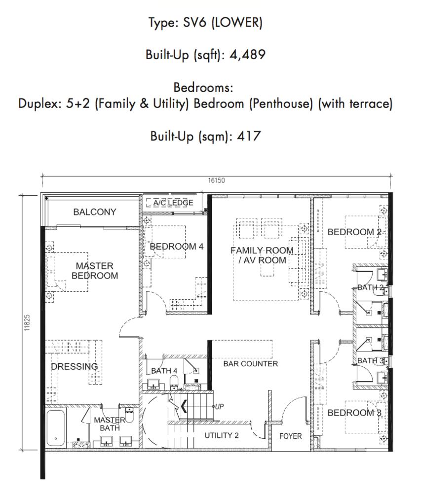 Tria Residences @ 9 Seputeh Ebon Type SV6 Lower Floor Floor Plan