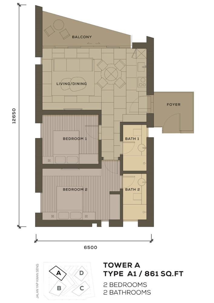 Isola KLCC Type A1 Floor Plan