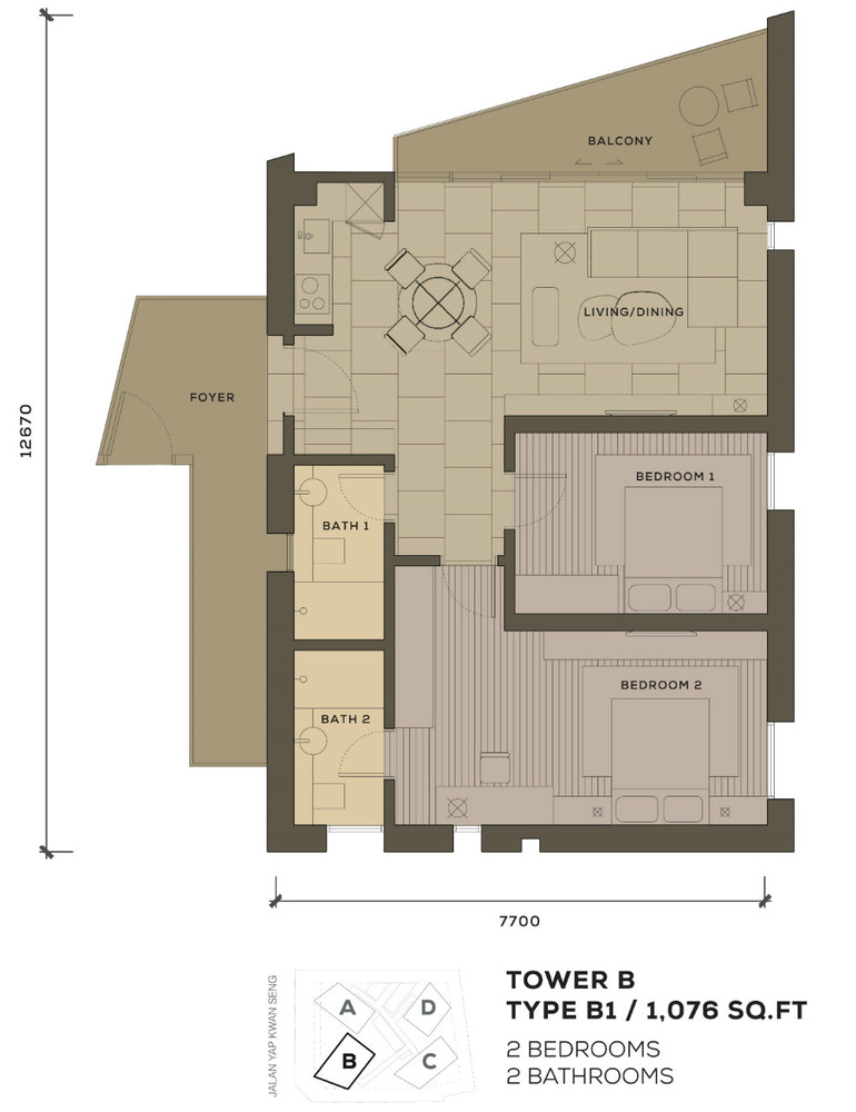 Isola KLCC Type B1 Floor Plan
