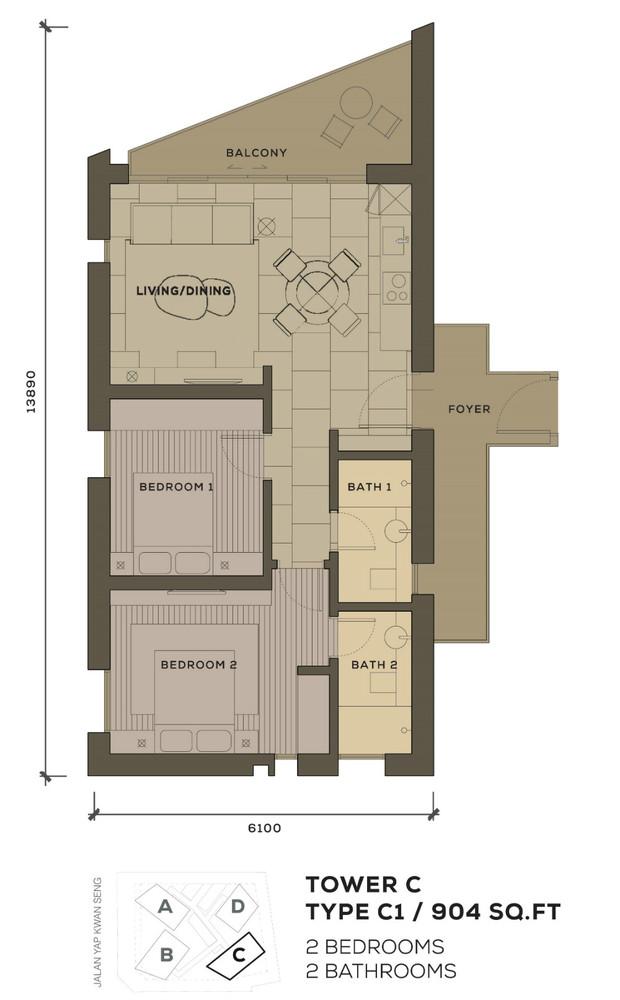 Isola KLCC Type C1 Floor Plan