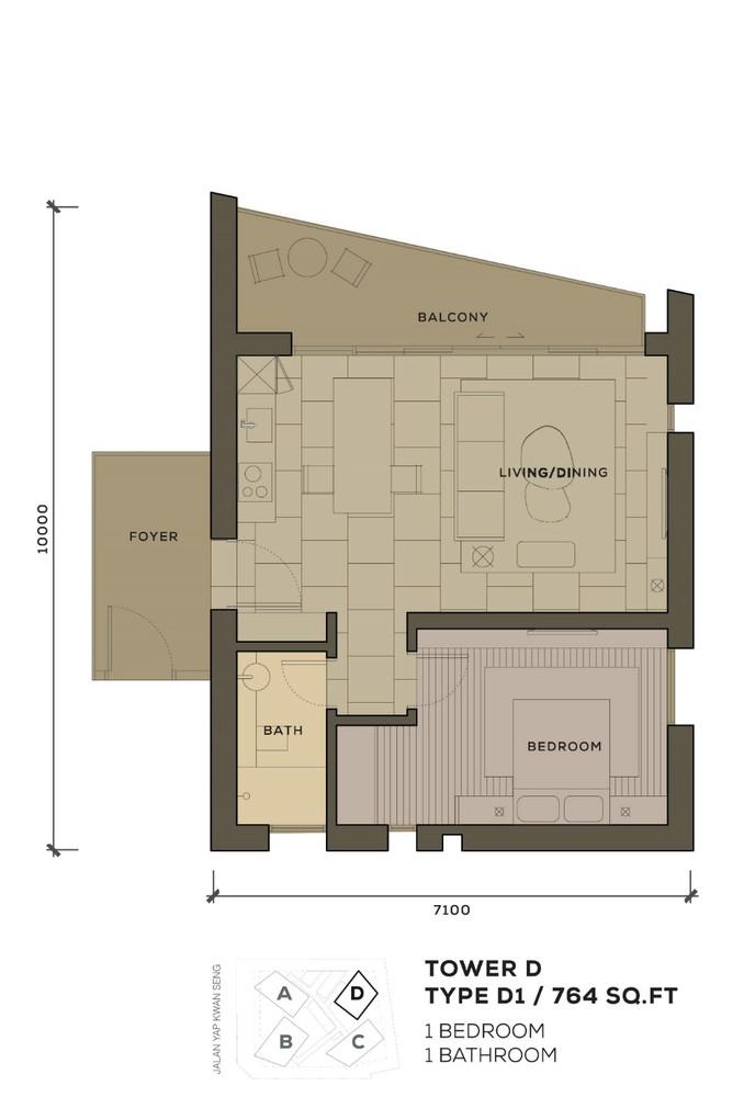 Isola KLCC Type D1 Floor Plan