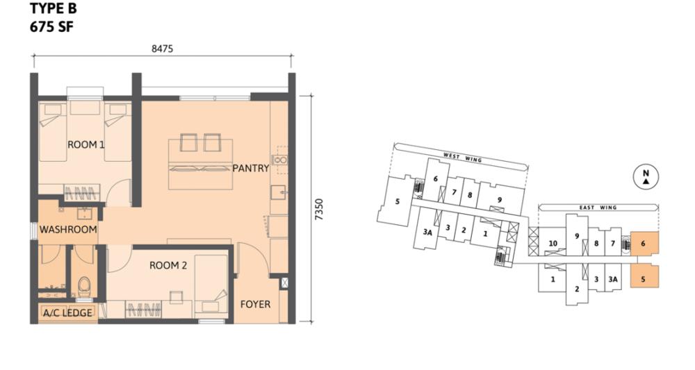 Union Suites Type B Floor Plan