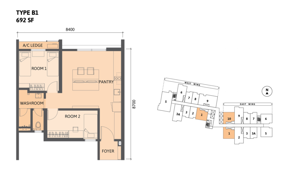 Union Suites Type B1 Floor Plan