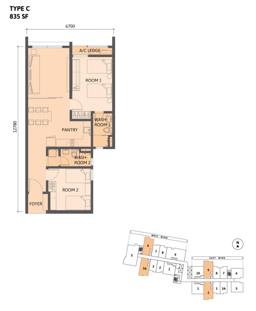 Union Suites Type C Floor Plan